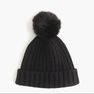J. Crew•Ribbed Beanie with Faux Fur Pom Pom